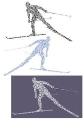 skier silhouette of snowflakes 13