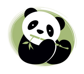 Panda bear  with bamboo. Vector illustration.