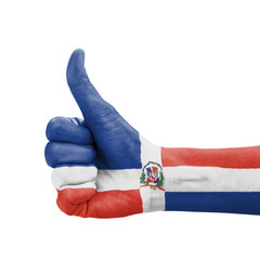 Hand with thumb up, Dominican Republic flag painted