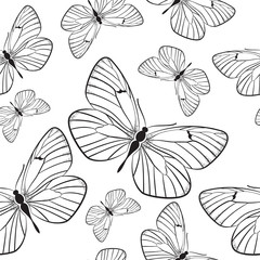Seamless pattern with monochrome butterflies