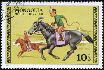 Stamp  shows the image of the Boys on Horseback