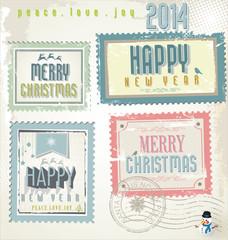 Vintage Christmas post stamps