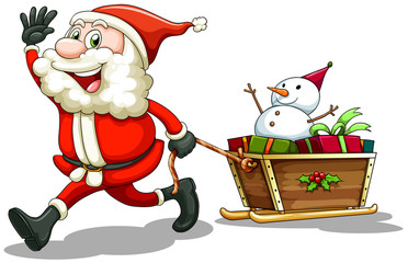 A smiling Santa pulling a sleigh