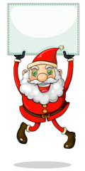 A smiling Santa Claus holding an empty signage