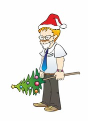 """""""office worker with glasses and a Christmas tree"""""""
