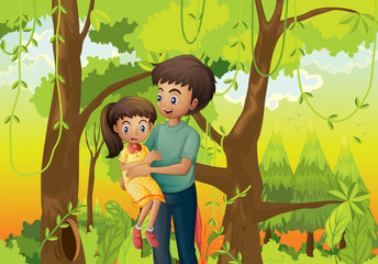 A forest with a father carrying his daughter