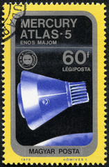 stamp printed in Hungary, presents Mercury Atlas-5