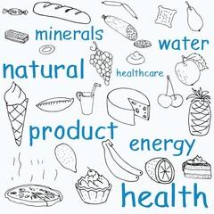 Illustration of food vector doodles set .