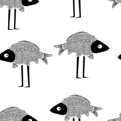 Funny fish seamless pattern