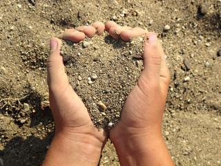 child hand, playing sand