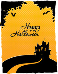 Happy halloween card with castle