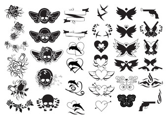 Tattoo Icons Set - Isolated On White Background
