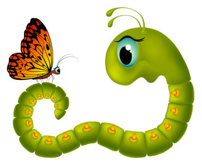 Cartoony caterpillar looking at a butterfly
