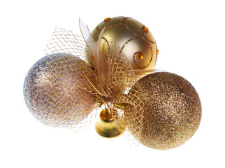 Golden christmas balls isolated