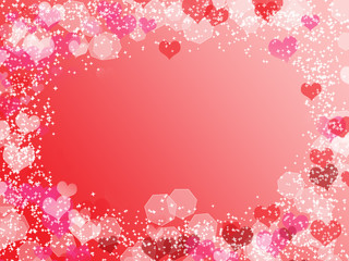 Background with frame from hearts and bokeh