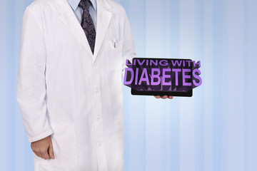 A medical professional holds a tablet displaying the words Livin