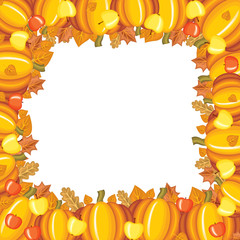 Pumpkins and apples frame
