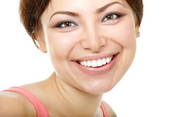happy smiling beautiful young woman looking at camera