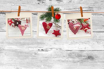 Photos frames on christmas background