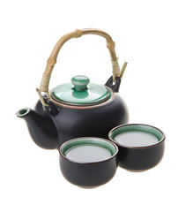 Chinese tea set with cups and tea pot