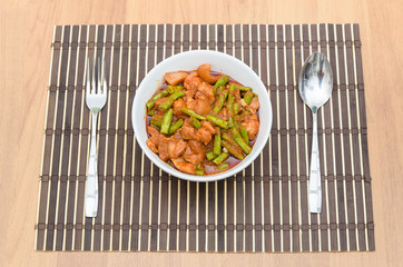 Extremely hot stir fried string bean with pork
