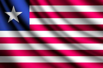 Waving flag of Liberia, vector