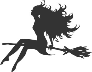 Silhouette of beautiful witch sitting on broom