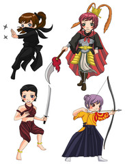 Warriors girl from various culture set 3