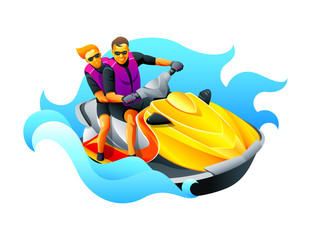 Happy couple enjoy riding ski jet in blue ocean