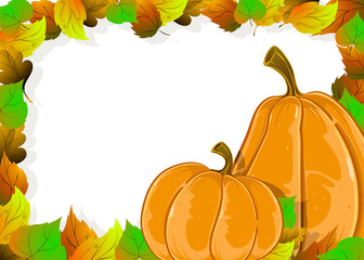 Ripe pumpkins and autumn leaves