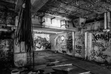 Dark abandoned scary factory room