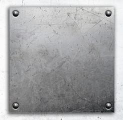 Poster de jardin Metal Metal background, riveted metal plate