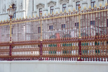 The railing of Imperial Hofburg Palace in Vienna, Austria