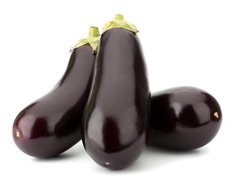 Black eggplants isolated on white background