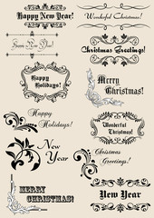 Winter holidays calligraphic elements