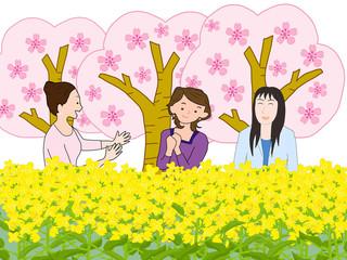 女子会で花見