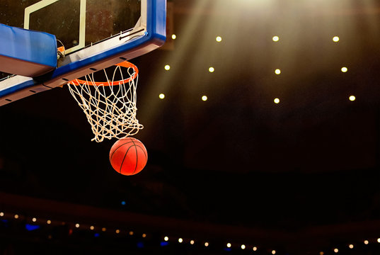 Basketball basket with all going through net