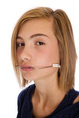 teenager with headgear