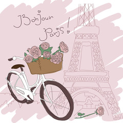 Foto op Canvas Illustratie Parijs Beautiful card with pretty bicycle and yellow roses on Paris fon