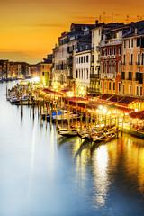 Obraz Kanał Grande w nocy, Wenecja - fototapety do salonu