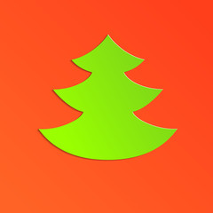 Green paper christmas tree on red card background, vector