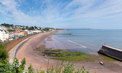 Fototapete - Dawlish Devon England with beach railway track and sea