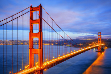 view of famous Golden Gate Bridge by night