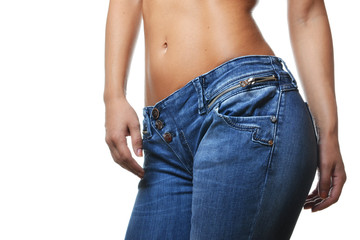 close-up shot of female wearing jeans, isolated on white backgro