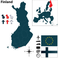 Map of Finland with regions
