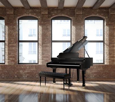 Vintage romantic loft interior, with a black piano