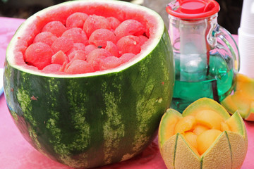 Watermelon party to celebrate summer with mint and melon drink w