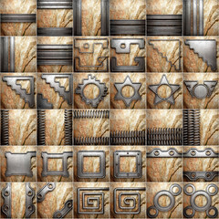 metal and stone background set