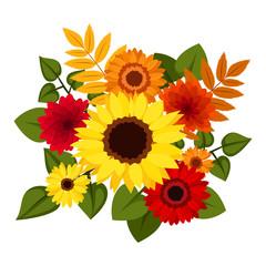 Autumn colorful flowers. Vector illustration.