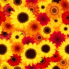 Seamless background with autumn colorful flowers. Vector.